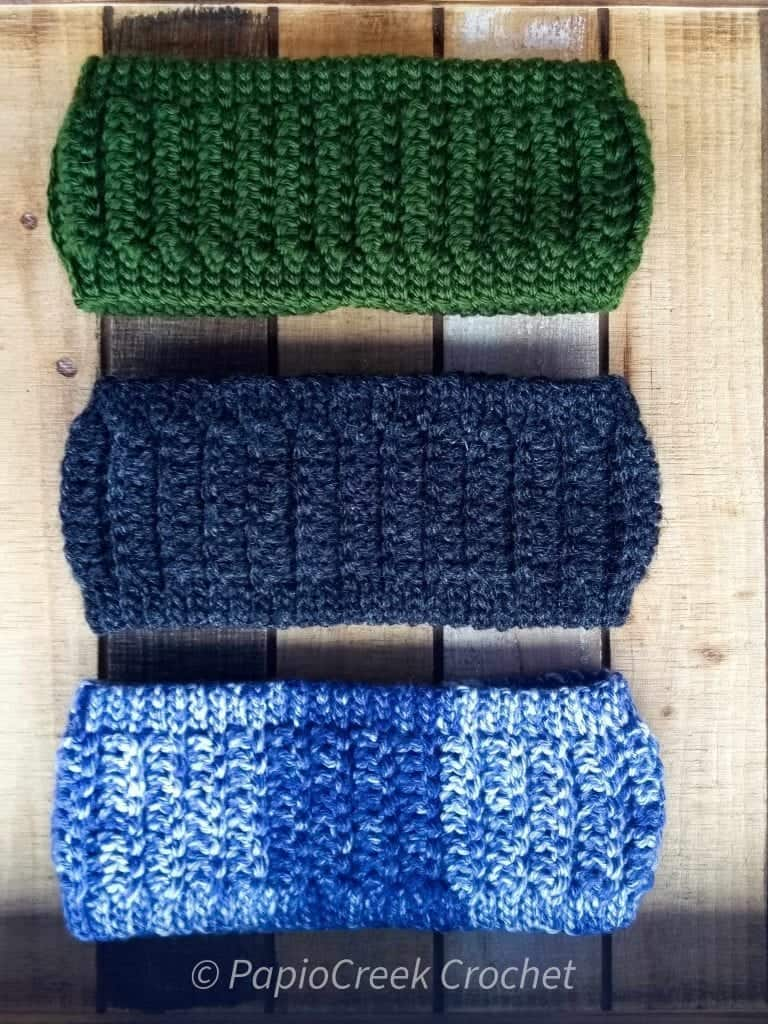 Hickory Hill Ear Warmers quick crochet pattern