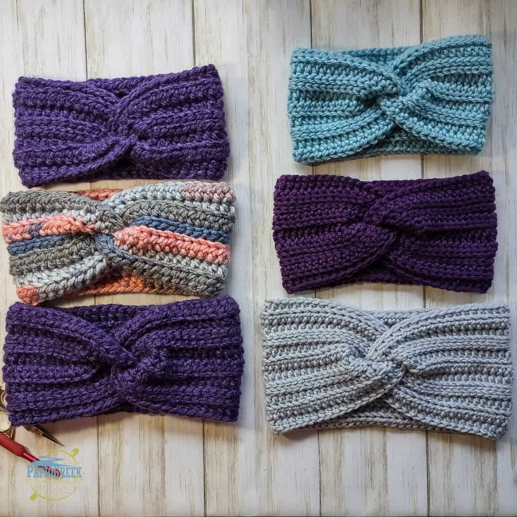 6 crochet ear warmers in various yarns and sizes